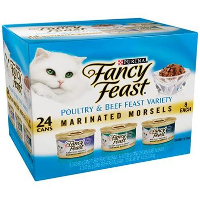 Nestle Purina Petcare Presents Fancy Feast Canned Marinated Morsels Poultry & Beef Variety Pack for Cats 3oz Cans/Case of 24 (8 Cans Each). Analysis see Individual Product Details for Guaranteed Analysis. [27823]