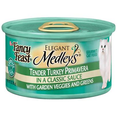 Nestle Purina Petcare Presents Fancy Feast Elegant Medley Variety Canned Turkey for Cats Shredded Turkey-3oz Cans/Case of 24. Analysis Crude Protein (Min) 10.0% Crude Fat (Min) 2.0% Crude Fiber (Max) 1.5% Moisture (Max) 82.0% Ash (Max) 3.0% Taurine (Min) 0.05% [27830]