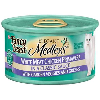 Nestle Purina Petcare Presents Fancy Feast Elegant Medley Canned Chicken Varieties for Cats Tuscany-3oz Cans/Case of 24. Analysis Crude Protein (Min) 10.0% Crude Fat (Min) 2.0% Crude Fiber (Max) 1.5% Moisture (Max) 82.0% Ash (Max) 3.0% Taurine (Min) 0.05% [27833]