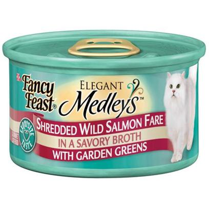 Nestle Purina Petcare Presents Fancy Feast Elegant Medley Canned Salmon Varieties for Cats Shredded Salmon-3oz Cans/Case of 24. Analysis Crude Protein (Min) 14.0% Crude Fat (Min) 2.0% Crude Fiber (Max) 1.5% Moisture (Max) 78.0% Ash (Max) 3.5% Taurine (Min) 0.05% [27837]