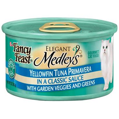 Nestle Purina Petcare Presents Fancy Feast Elegant Medley Canned Tuna Varieties for Cats Primavera-3oz Cans/Case of 24. Analysis Crude Protein (Min) 10.0% Crude Fat (Min) 2.0% Crude Fiber (Max) 1.5% Moisture (Max) 82.0% Ash (Max) 3.0% Taurine (Min) 0.05% [27841]