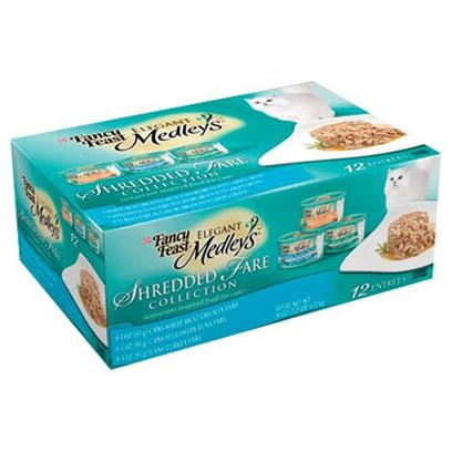 Nestle Purina Petcare Presents Fancy Feast Elegant Medley Shredded Variety Pack for Cats 3oz Cans/Case of 12. Analysis see Individual Product Details for Guaranteed Analysis. [27847]