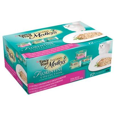 Nestle Purina Petcare Presents Fancy Feast Elegant Medley Florentine Collection for Cats 3oz Cans/Case of 12. Analysis see Individual Product Details for Guaranteed Analysis. [27848]