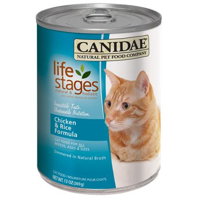 Canidae Presents Felidae Canned Chicken and Rice for Cats 5.5oz Cans-Case of 12. Analysis Crude Protein (Min.) 9.50% Crude Fat (Min.) 7.00% Crude Fiber (Max.) 1.00% Moisture (Max.) 78.00% Linoleic Acid (Omega 6) (Max.) 1.00% Magnesium (Max.) 0.025% Ash (Max.) 1.90% Calcium (Max.) 0.25% Phosphorous (Min.) 0.20% Taurine (Min.) 0.05% Alpha Linolenic Acid (Omega 3) (Min.) 0.20% Ph 5.5 [27854]
