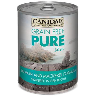 Canidae Presents Felidae Pure Sea Canned Grain Free Salmon for Cats 13oz Cans-Case of 12. Analysis Crude Protein (Min.) 9.00% Crude Fat (Min.) 6.00% Crude Fiber (Max.) 1.00% Moisture (Max.) 78.00% Linoleic Acid (Omega 6) (Max.) 1.00% Magnesium (Max.) 0.25% Ash (Max.) 1.90% Calcium (Min.) 0.25% Phosphorous (Min.) 0.20% Taurine (Min.) 0.10% Alpha Linolenic Acid (Omega 3) (Min.) 0.20% Ph 5.5 [27855]