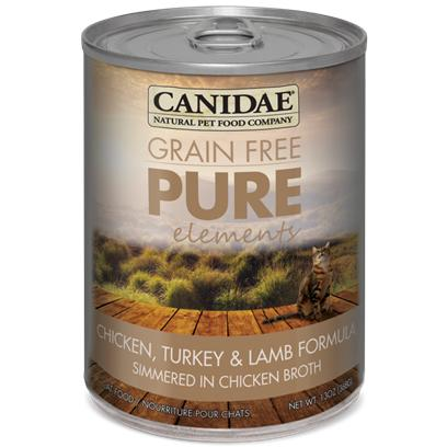 Canidae Presents Felidae Pure Elements Canned Grain Free Chickn Turkey Lamb &amp; Fish for Cats 5.5oz Cans/Case of 12. Analysis Crude Protein (Min.) 9.00% Crude Fat (Min.) 6.00% Crude Fiber (Max.) 1.00% Moisture (Max.) 78.00% Linoleic Acid (Omega 6) (Max.) 1.00% Magnesium (Max.) 0.25% Ash (Max.) 1.90% Calcium (Min.) 0.25% Phosphorous (Min.) 0.20% Taurine (Min.) 0.10% Alpha Linolenic Acid (Omega 3) (Min.) 0.20% Ph 5.5 [27857]