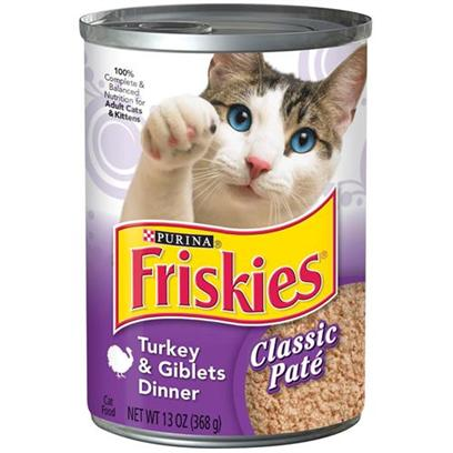 Nestle Purina Presents Friskies Classic Pate Turkey &amp; Giblets Dinner for Cats 13.2oz Cans-Case of 24. Analysis Crude Protein (Minimum)9.00% Crude Fat (Minimum)3.50% Crude Fiber (Maximum)1.50% Moisture (Maximum)82.00% [27860]
