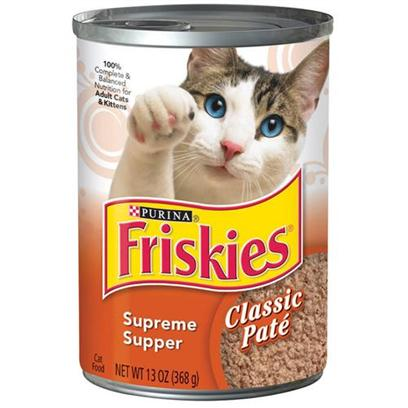 Buy Friskies Canned Supreme Supper for Cats products including Friskies Canned Supreme Supper for Cats 13.2oz Cans-Case of 24, Friskies Classic Pate Supreme Supper for Cats 5.5oz Cans/Case of 24 Category:Canned Food Price: from $16.29