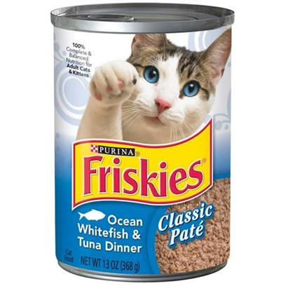 Nestle Purina Petcare Presents Friskies Canned Classic Pate Ocean Whitefish &amp; Tuna for Cats 13.2oz Cans-Case of 24. Analysis Crude Protein (Minimum)11.00% Crude Fat (Minimum)4.00% Crude Fiber (Maximum)1.50% Moisture (Maximum)78.00% [27862]