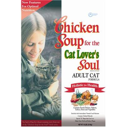 Diamond Pet Foods Presents Chicken Soup for the Cat Lover's Soul-Adult Formula Dry Food 18lb Bag. Analysis Crude Protein 30.0% Minimum Crude Fat 20.0% Minimum Crude Fiber 4.0% Maximum Moisture 10.0% Maximum Zinc 120 Mg/Kg Minimum Selenium 0.4 Mg/Kg Minimum Vitamin E 150 Iu/Kg Minimum Taurine 0.15% Minimum Omega-6 Fatty Acids 2.2% Minimum Omega-3 Fatty Acids 0.4% Minimum Calorie Content 3,922 Kcal/Kg (367 Kcal/Cup) Calculated Metabolizable Energy. [27866]