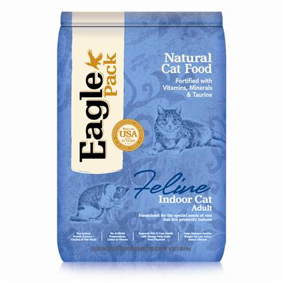 Wellpet Presents Eagle Pack Natural Cat Food Indoor Formula for 12lb Bag. Eagle Pack Natural Pet Foods Deliver the Right Balance of Proteins, Fats, Carbohydrates, Antioxidants and Omega Fatty Acids for Results you can see  Shiny Coat, Bright Eyes, Good Digestion and Energetic Spirit. Over the Years, the Formulas have been Performance-Proven with Indoor Sun Loungers, Neighborhood Prowlers and Outdoor Butterfly Chasers. You Too can Count on our American-Made Foods to Naturally Fuel your Pet's Daily Adventures, Both Big and Small.Formulated for the Special Needs of Cats that Live Primarily Indoors.Omega Fatty Acids in Flaxseed Help Maintain Healthy, Nourished Skin that Helps Control Shedding.Formulated with a Moderate Amount of Fat and Calories to Support the Reduced Activity and Exercise Levels of an Indoor Lifestyle.Formulated with 32% More Fiber than our Original Adult Formula to Help Keep Indoor Cats Satisfied Between Meals and Support Healthy Digestion.Instead, our Formulas are Preserved Naturally, and Include Healthy, Flavorful Ingredients.A Variety of Proteins Helps Support Healthy Muscle Tone while Providing a Great Flavor Even Finicky Cats Love. [27876]