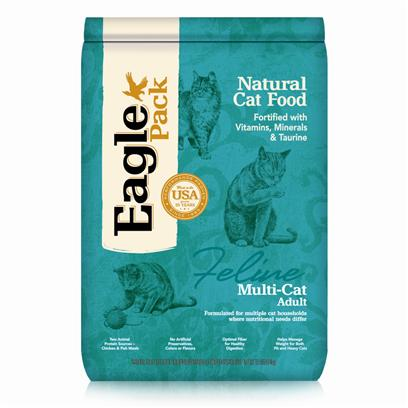 Wellpet Presents Eagle Pack Natural Pet Food Multi-Cat Formula 12lb Bag. Eagle Pack Natural Pet Foods Deliver the Right Balance of Proteins, Fats, Carbohydrates, Antioxidants and Omega Fatty Acids for Results you can see  Shiny Coat, Bright Eyes, Good Digestion and Energetic Spirit. Over the Years, the Formulas have been Performance-Proven with Indoor Sun Loungers, Neighborhood Prowlers and Outdoor Butterfly Chasers. You Too can Count on our American-Made Foods to Naturally Fuel your Pet's Daily Adventures, Both Big and Small. Eagle Pack is Nutrition in Action. Nutrition Analysis Crude Protein (Min.) 33.00% Crude Fat (Min.) 12.00% Crude Fat (Max.) 15.00% Crude Fiber (Max.) 4.00% Moisture (Max.) 10.00% Ingredients Chicken Meal, Ground Brown Rice, Ground Yellow Corn, Corn Gluten Meal, Chicken Fat (Preserved with Natural Mixed Tocopherols), Anchovy &amp; Sardine Meal, Dried Egg Product, Brewers Dried Yeast, Oat Fiber, Dried Beet Pulp, Natural Chicken Flavor, Sun-Cured Alfalfa, Flaxseed, Tomato Pomace, Salt, Potassium Chloride, Menhaden Fish Oil, Carrots, Peas, Choline Chloride, Taurine, Cranberries, Dl-Methionine, Vitamins [Vitamin E Supplement, Ascorbic Acid (Vitamin C), Niacin Supplement, Vitamin a Supplement, D-Calcium Panothenate, Pyridoxine Hydrochloride, Thiamine Mononitrate, Vitamin D-3 Supplement, Biotin, Vitamin B-12 Supplement, Folic Acid], Minerals [Polysaccharide Complexes of Zinc, Iron, Manganese and Copper, Cobalt Carbonate, Potassium Iodate, Sodium Selenite], Lecithin, Rosemary Extract, Yucca Schidigera Extract, Dried Lactobacillus Acidophilus, Lactobacillus Casei, Enterococcus Faecium, Bacillus Subtilis, Bacillus Licheniformis, Aspergillus Oryzae and Aspergillus Niger Fermentation Products, Mixed Tocopherols (a Natural Preservative). What it's Made without no Artificial Colors, Flavors of Preservatives [27878]
