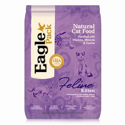 Wellpet Presents Eagle Pack Natural Cat Food Kitten Formula 12lb Bag. Eagle Pack Natural Pet Foods Deliver the Right Balance of Proteins, Fats, Carbohydrates, Antioxidants and Omega Fatty Acids for Results you can see – Shiny Coat, Bright Eyes, Good Digestion and Energetic Spirit. Over the Years, the Formulas have been Performance-Proven with Indoor Sun Loungers, Neighborhood Prowlers and Outdoor Butterfly Chasers. You Too can Count on our American-Made Foods to Naturally Fuel your Pet's Daily Adventures, Both Big and Small. Eagle Pack is Nutrition in Action.™ Formulated for the Healthy Growth of Kittens under 1 Year Olddha, a Fatty Acid also Found in Mother'S Milk, Helps Support Optimal Development of the Brain and Eyes.Dha, a Fatty Acid also Found in Mother'S Milk, Helps Support Optimal Development of the Brain and Eyes.A Variety of Proteins Helps Support Healthy Muscle Development while Providing a Great Flavor Even Finicky Kittens Love.Omega Fatty Acids from Flaxseed Help Support Healthy Skin and Developing Coat.Fortified with our Complete Vitamin and Mineral Package; Antioxidants Like Vitamin C Help Support Healthy Immune Function. [27879]