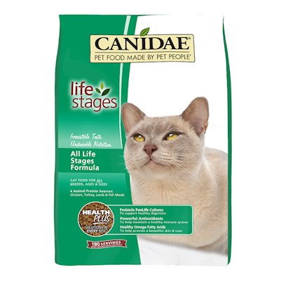 Canidae Presents Felidae Cat &amp; Kitten Formula Dry Food 15lb Bag. Analysis Crude Protein (Min.) 32.00% Crude Fat (Min.) 20.00% Crude Fiber (Max.) 2.50% Moisture (Max.) 9.00% Linoleic Acid (Omega 6) (Min.) 3.75% Iron (Min.) 150.00 Mg/Kg Zinc (Min.) 135.00 Mg/Kg Vitamin E (Min.) 200.00 Iu/Kg Taurine (Min.) 0.25% Alpha Linolenic Acid (Omega 3)* (Min.) 0.75% Ascorbic Acid (Vitamin C)* (Min.) 50.00 Mg/Kg Lactobacillus Acidophilus* (Min.) 100 Million Cfu/Lb. Cellulase (Min.) 100 Cmcu/Kg [27880]