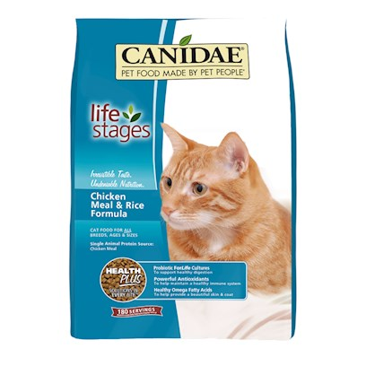 Canidae Presents Felidae Dry Chicken and Rice Cat/Kitten Food Formula &amp; Cat 15lb. Analysis Crude Protein (Min.) 32.00% Crude Fat (Min.) 20.00% Crude Fiber (Max.) 2.50% Moisture (Max.) 10.00% Linoleic Acid (Omega 6) (Min.) 3.75% Iron (Min.) 150.00 Mg/Kg Zinc (Min.) 135.00 Mg/Kg Vitamin E (Min.) 200.00 Iu/Kg Taurine (Min.) 0.25% Alpha Linolenic Acid (Omega 3)* (Min.) 0.75% Ascorbic Acid (Vitamin C)* (Min.) 50.00 Mg/Kg Lactobacillus Acidophilus* (Min.) 100 Million Cfu/Lb. Cellulase* (Min.) 100 Cmcu/Kg [27883]