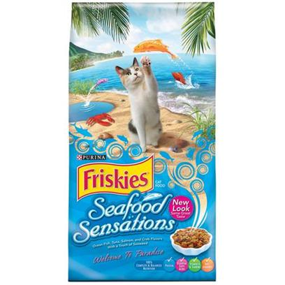 Nestle Purina Petcare Presents Friskies Seafood Sensations Dry Cat Food 16lb Bag. Analysis Crude Protein (Min)31.00% Crude Fat (Min)11.50% Crude Fiber (Max)4.50% Moisture (Max)12.00% [27889]