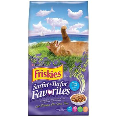Nestle Purina Petcare Presents Friskies Surfin' &amp; Turfin' Favorites Cat Food 16lb Bag. Analysis Crude Protein (Min) 30% Crude Fat (Min) 12% Crude Fiber (Max) 4.5% Moisture (Max) 12% Linoleic Acid (Min) 1.2% Arachidonic Acid (Min) 0.03% Calcium (Min) 1.1% Phosphorus (Min) 1% Taurine (Min) 0.12% [27891]