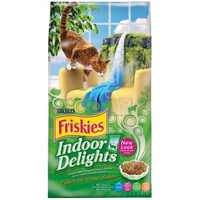 Nestle Purina Petcare Presents Friskies Indoor Delights Cat Food 16lb Bag. Analysis Crude Protein (Min) 30% Crude Fat (Min) 9% Crude Fiber (Max) 5% Moisture (Max) 12% Linoleic Acid (Min) 1.5% Arachidonic Acid (Min) 0.03% Calcium (Min) 1% Phosphorus (Min) 0.8% Taurine (Min) 0.12% [27892]