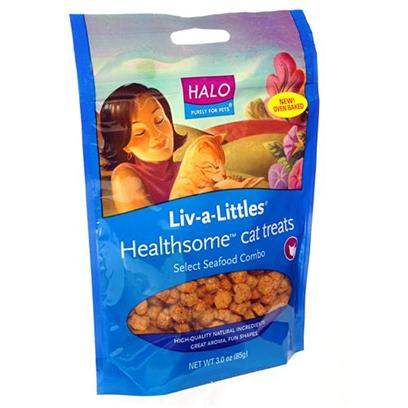 Halo Presents Halo Treats Liv-a-Littles Seafood Combo for Cats 3oz. Analysis Crude Protein 13.0% (Min) Crude Fat 8.0% (Min) Crude Fiber 5.0% (Max) Moisture 12.0% (Max) Taurine 0.08% (Min) [27913]