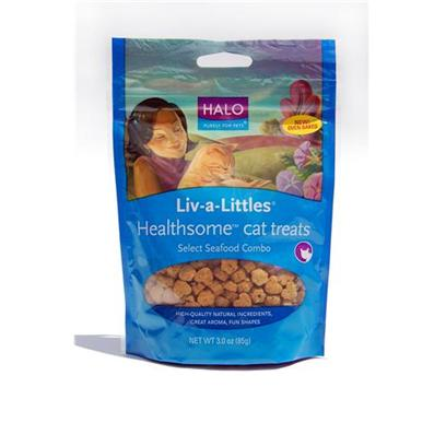 Halo Presents Halo Treats Liv-a-Littles Healthsome Chicken for Cats 3oz. Analysis Crude Protein 13.0% (Min) Crude Fat 9.0% (Min) Crude Fiber 5.0% (Max) Moisture 12.0% (Max) Taurine 0.08% (Min) [27914]