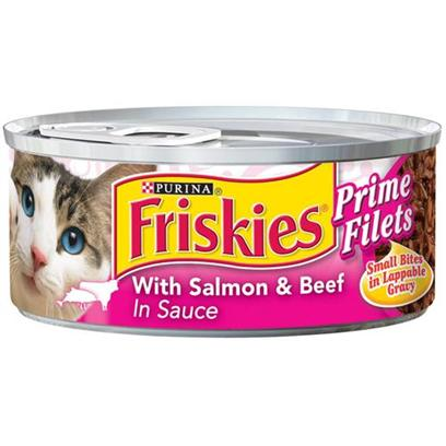 Nestle Purina Petcare Presents Friskies Canned Prime Fillet with Salmon &amp; Beef in Sauce for Cats 5.5oz Cans/Case of 24. Analysis Crude Protein (Min.) 12%, Crude Fat (Min.) 2%, Crude Fiber (Max.) 1.5%, Moisture (Max.) 78%, Ash (Max.) 2.7%, Taurine (Min.) 0.05% [27915]