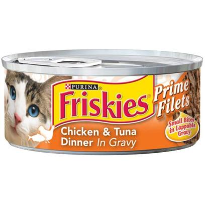 Nestle Purina Petcare Presents Friskies Canned Prime Filet Chicken and Tuna for Cats 5.5oz Cans/Case of 24. Analysis Crude Protein (Min.) 12%, Crude Fat (Min.) 2%, Crude Fiber (Max.) 1.5%, Moisture (Max.) 78%, Ash (Max.) 2.5%, Taurine (Min.) 0.05%. [27916]