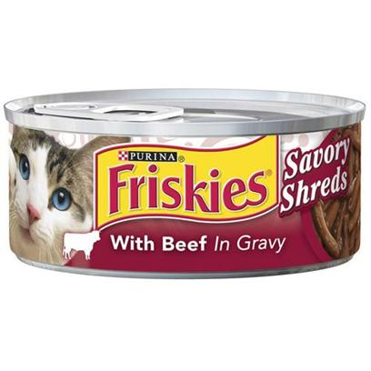 Nestle Purina Petcare Presents Friskies Canned Savory Shreds with Beef for Cats 5.5oz Cans-Case of 24. Analysis Crude Protein (Min.) 9%, Crude Fat (Min.) 3%, Crude Fiber (Max.) 1.5%, Moisture (Max.) 82%, Ash (Max.) 2%, Taurine (Min.) 0.05%. [27917]