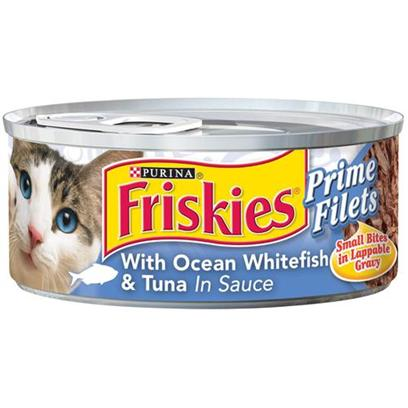Nestle Purina Petcare Presents Friskies Canned Prime Filet Ocean Whitefish &amp; Tuna for Cats 5.5oz Cans-Case of 24. Analysis Crude Protein (Min.) 12%, Crude Fat (Min.) 2%, Crude Fiber (Max.) 1.5%, Moisture (Max.) 78%, Ash (Max.) 2.5%, Taurine (Min.) 0.05%. [27922]