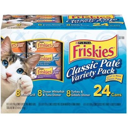 Nestle Purina Petcare Presents Friskies Canned Classic Pate Variety Pack for Cats (Mixed Grill Ocean Whtiefish &amp; Tuna Turkey Giblets. Analysis see Individual Product Details for Guaranteed Analysis. [27924]