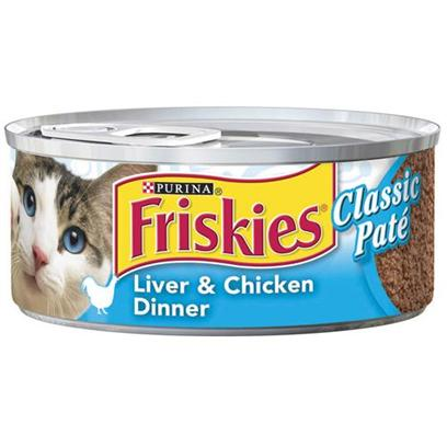 Nestle Purina Petcare Presents Friskies Canned Classic Pate Liver and Chicken for Cats 5.5oz Cans-Case of 24. Primary Carb Source Chicken [27925]