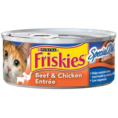 Nestle Purina Petcare Presents Friskies Classic Pate Special Diet Beef and Chicken for Cats 5.5oz Cans/Case of 24. Analysis Crude Protein (Minimum)10.00% Crude Fat (Minimum)7.00% Crude Fiber (Maximum)0.50% Moisture (Maximum)78.00% [27931]