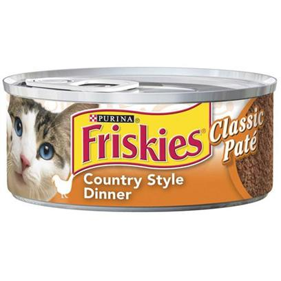 Nestle Purina Petcare Presents Friskies Classic Pate Country Style for Cats 5.5oz Cans/Case of 24. Analysis Crude Protein (Minimum)10.00% Crude Fat (Minimum)5.00% Crude Fiber (Maximum)1.50% Moisture (Maximum)78.00% [27937]