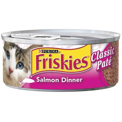 Nestle Purina Petcare Presents Friskies Classic Pate Salmon Dinner for Cats 5.5oz Cans/Case of 24. Analysis Crude Protein (Minimum)10.00% Crude Fat (Minimum)5.00% Crude Fiber (Maximum)1.50% Moisture (Maximum)78.00% [27938]