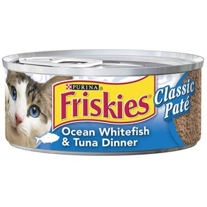 Nestle Purina Petcare Presents Friskies Classic Pate Ocean Whitefish and Tuna for Cats 5.5oz Cans/Case of 24. Analysis Crude Protein (Minimum)11.00% Crude Fat (Minimum)4.00% Crude Fiber (Maximum)1.50% Moisture (Maximum)78.00% [27942]