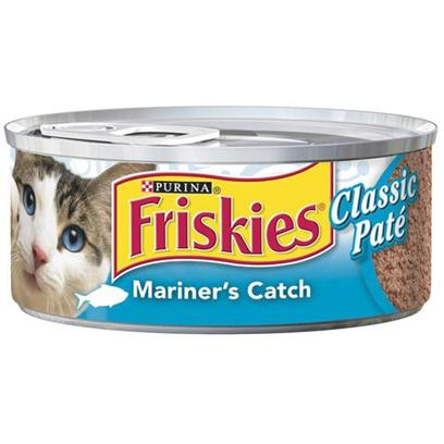 Nestle Purina Petcare Presents Friskies Classic Pate Mariners Catch for Cats 5.5oz Cans-Case of 24. Analysis Crude Protein (Minimum)11.00% Crude Fat (Minimum)3.00% Crude Fiber (Maximum)1.50% Moisture (Maximum)78.00% [27943]
