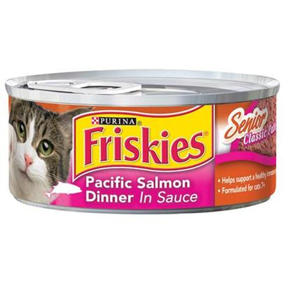 Nestle Purina Petcare Presents Friskies Classic Pate Salmon for Senior Cats 5.5oz Cans/Case of 24. Analysis Crude Protein (Minimum)9.00% Crude Fat (Minimum)2.50% Crude Fiber (Maximum)1.50% Moisture (Maximum)82.00% [27948]