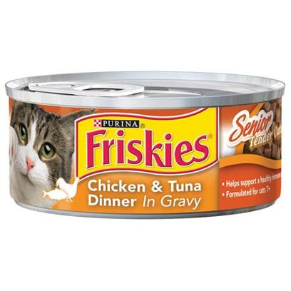 Nestle Purina Petcare Presents Friskies Classic Pate Chicken and Tuna for Senior Cats 5.5oz Cans/Case of 24. - [27950]