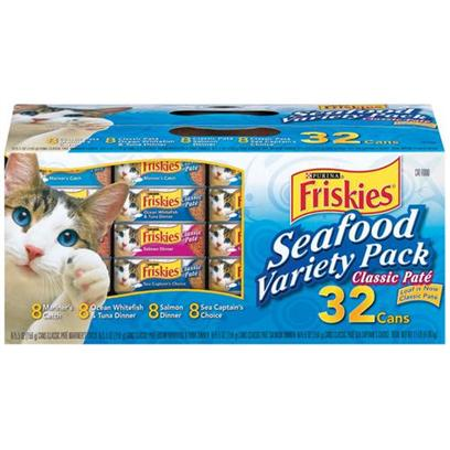 Nestle Purina Petcare Presents Friskies Canned Seafood Variety Pack for Cats 5.5oz Cans/Case of 32. Analysis see Individual Product Details for Guaranteed Analysis. [27952]