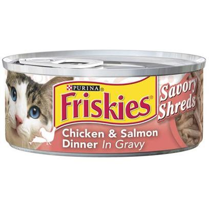 Nestle Purina Petcare Presents Friskies Classic Pate Shredded Salmon and Chicken for Cats 5.5oz Cans-Case of 24. Friskies Classic Pate Shredded Salmon and Chicken for Cats, Two Great Taste your Cat will Love! [27957]