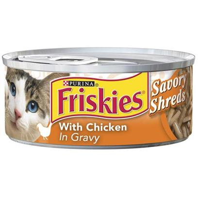 Nestle Purina Petcare Presents Friskies Shredded Chicken for Cats 5.5oz Cans-Case of 24. Analysis Crude Protein Min. 9%, Crude Fat Min. 3%, Crude Fiber Max. 1.5%, Moisture Max. 82%, Ash Max. 2%, Taurine Min. 0.05% [27958]