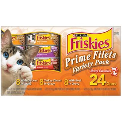 Nestle Purina Petcare Presents Friskies Prime Filets Turf Variety Pack for Cats 5.5oz Cans/Case of 24. Analysis see Individual Product Details for Guaranteed Analysis. [27961]