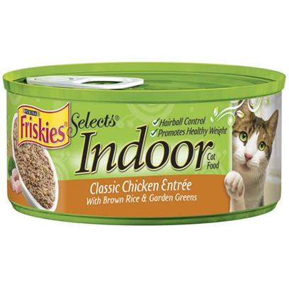 Nestle Purina Petcare Presents Friskies Select Indoor Chicken and Brown Rice for Cats 5.5oz Cans/Case of 24. Analysis Crude Protein (Min.) 7%, Crude Fat (Min.) 3%, Crude Fiber (Max.) 1.5%, Moisture (Max.) 78%, Ash (Max.) 3.3%, Taurine (Min.) 0.04%. [27964]