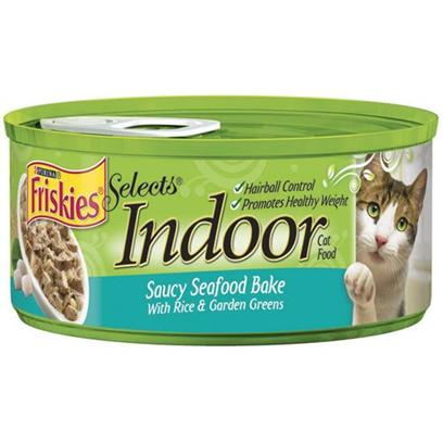Nestle Purina Petcare Presents Friskies Select Indoor Seafood Bake for Cats with Rice 24 5.5oz Cans. Analysis Crude Protein (Min.) 9%, Crude Fat (Min.) 2%, Crude Fiber (Max.) 1.5%, Moisture (Max.) 78%, Ash (Max.) 2.5%, Taurine (Min.) 0.05%. [27968]
