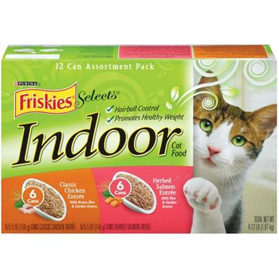 Nestle Purina Petcare Presents Friskies Select Indoor Chicken and Salmon Collection Pack for Cats 5.5oz Cans/Case of 12 ( 6 Each Salmon). Analysis see Individual Product Details for Guaranteed Analysis. [27970]