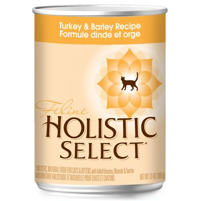 Wellpet Presents Holistic Select Turkey &amp; Barley Recipe Canned Cat Food 13oz Cans/Case of 12. Holistic Select Turkey &amp; Barley Canned Cat Food Provides Two Quality Sources of Protein from Turkey and Chicken with Added Vitamins, Minerals, Fruits and Vegetables.When Considering a Diet for Cats &amp; Kittens, One Must be Aware that the Most Common Medical Reason Pet Parents Take their Cats to the Veterinarian is for Urinary Tract Issues. The Holistic Select Turkey &amp; Barley Canned Wet Cat Food is Designed to Encourage Healthy Acidic Urine in Cats and Contain Lower Levels of Magnesium, which is a Contributing Cause of Feline Lower Urinary Tract Disease (Flutd). [27978]