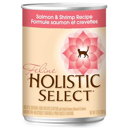 Wellpet Presents Holistic Select Salmon &amp; Shrimp Recipe Canned Cat Food 13oz Cans/Case of 12. Holistic Select Salmon &amp; Shrimp Canned Cat Food Provides Multiple Quality Protein Sources with Added Vitamins, Minerals, Fruits and Vegetables.When Considering a Diet for Cats &amp; Kittens, One Must be Aware that the Most Common Medical Reason Pet Parents Take their Cats to the Veterinarian is for Urinary Tract Issues. The Holistic Select Salmon &amp; Shrimp Canned Wet Cat Food Designed to Encourage Healthy Acidic Urine in Cats and Contain Lower Levels of Magnesium, which is a Contributing Cause of Feline Lower Urinary Tract Disease (Flutd). [27980]