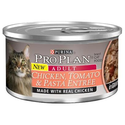 Nestle Purina Petcare Presents Pro Plan Canned Chicken/Tomato in Gravy for Cats 24 3oz Cans. Analysis Crude Protein (Min) - 10.0 % Crude Fat (Min) - 2.0 % Crude Fiber (Max) - 1.5 % Moisture (Max) - 82.0 % Ash (Max) - 3.0 % Taurine (Min) 0.05 % [28006]