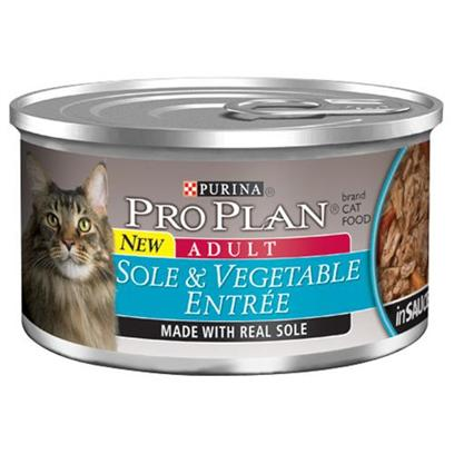 Nestle Purina Petcare Presents Pro Plan Canned Sole/Vegetable in Sauce for Cats 24 3oz Cans. Analysis Crude Protein (Min) - 10.0 % Crude Fat (Min) - 2.0 % Crude Fiber (Max) - 1.5 % Moisture (Max) - 82.0 % Ash (Max) - 3.0 % Taurine (Min) 0.05 % [28007]