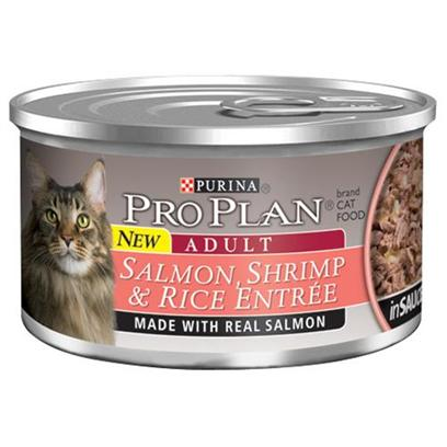 Nestle Purina Petcare Presents Pro Plan Canned Salmon/Shrimp in Sauce for Cats 24 3oz Cans. Analysis Crude Protein (Min) - 10.0 % Crude Fat (Min) - 2.0 % Crude Fiber (Max) - 1.5 % Moisture (Max) - 82.0 % Ash (Max) - 3.0 % Taurine (Min) 0.05 % [28008]