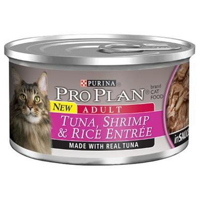 Nestle Purina Petcare Presents Pro Plan Canned Tuna/Shrimp in Sauce for Cats Sauce24 3oz Cans. Analysis Crude Protein (Min) - 10.0 % Crude Fat (Min) - 2.0 % Crude Fiber (Max) - 1.5 % Moisture (Max) - 82.0 % Ash (Max) - 3.0 % Taurine (Min) 0.05 % [28009]